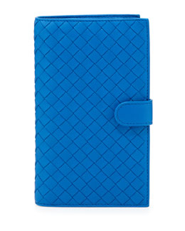 Bottega Veneta Woven Continental Wallet, Signal Blue Bright