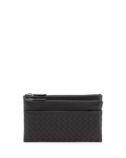Bottega Veneta Woven Leather Bifold Wallet, Nero Black