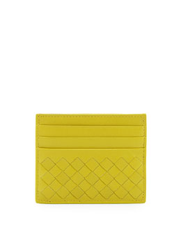Bottega Veneta Woven Leather Credit Card Sleeve, Chartreuse