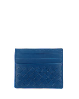 Bottega Veneta Woven Leather Credit Card Sleeve, Signal Blue