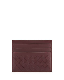 Bottega Veneta Woven Leather Credit Card Sleeve, Dark Bordeaux