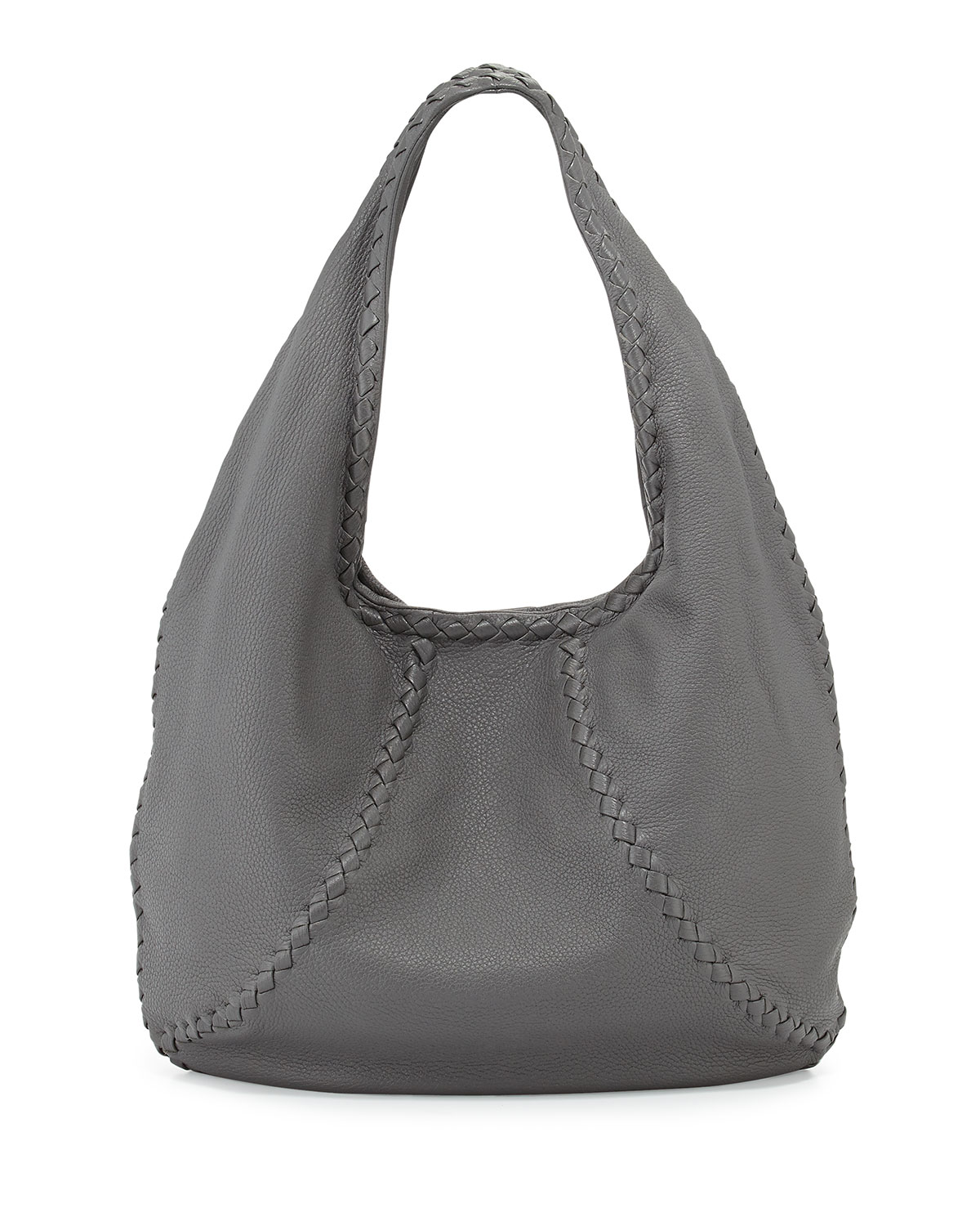 f10b5af9b87f Bottega Veneta Cervo Medium Open-Shoulder Hobo Bag, New Light Gray ...