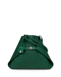 Akris Ai Ostrich Medium Shoulder Tote Bag, Aloe