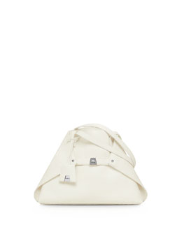 Akris Ai Cervo Small Shoulder Tote Bag, White