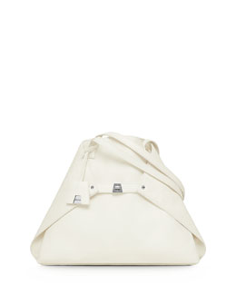 Akris Ai Cervo Medium Shoulder Tote Bag, White