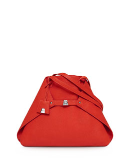 Akris Ai Cervo Medium Shoulder Tote Bag, Tangerine