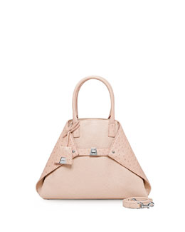 Akris Ai Small Cervo & Ostrich Messenger Bag, Rose