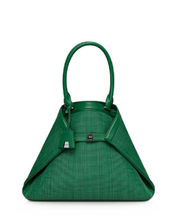 Akris Ai Medium Woven Tote Bag, Aloe
