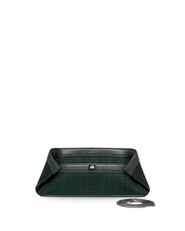 Akris Ai Small Woven Clutch Bag, Dark Green
