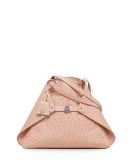 Akris Ai Ostrich Medium Shoulder Tote Bag, Rose