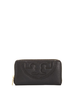 Tory Burch All-T Continental Zip Wallet, Black