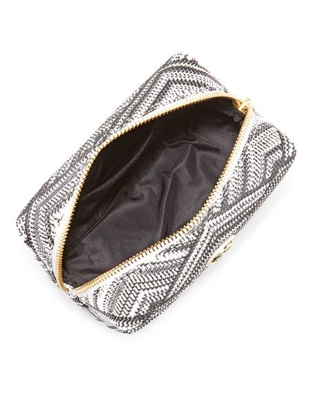 Brigitte Woven Cosmetic Case, White/Black