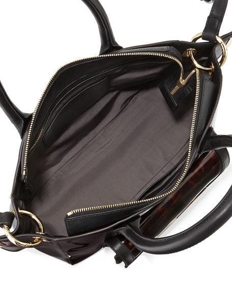 Jo Tortoise-Print Patent Leather Mini Tote Bag