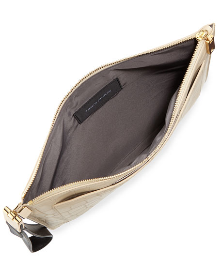 Ishi Croc-Embossed Large Wristlet Clutch Bag, Ecru