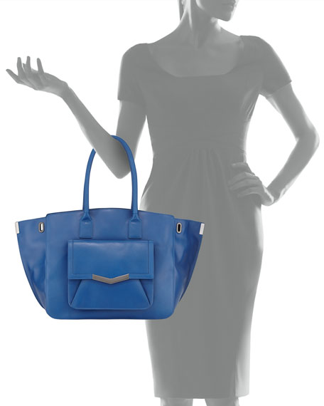Jo Smooth Leather Tote Bag, Paris Blue