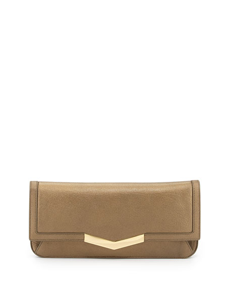 Ishi Metallic Smooth Leather Clutch Bag, Bronze