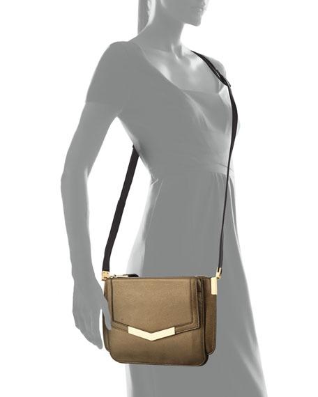 Trilogy Mini Leather Crossbody Bag, Bronze