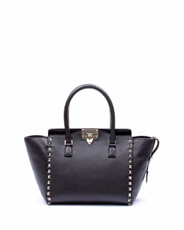 Valentino Rockstud Mini Shopper Tote Bag, Black