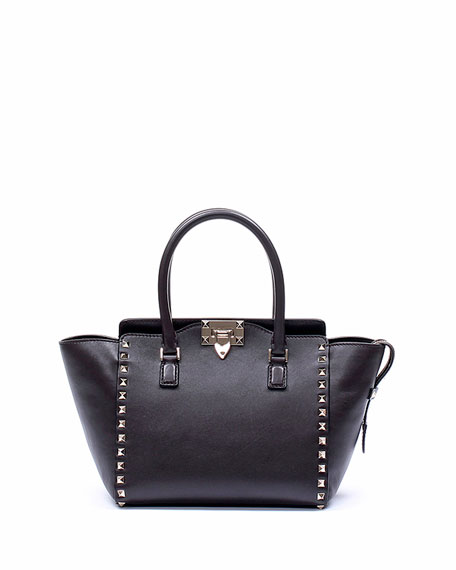 Rockstud Mini Shopper Tote Bag, Black