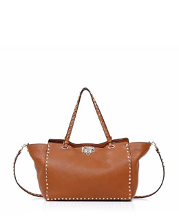 Valentino Rockstud Medium Tote Bag, Light Cuir