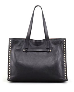 Valentino Rockstud Shopping Tote Bag, Black/Poudre