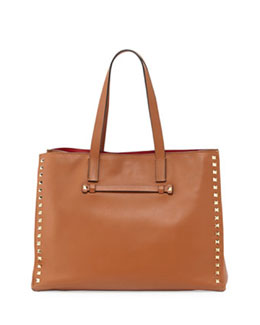 Valentino Rockstud Soft Double-Strap Tote Bag, Light Cuir