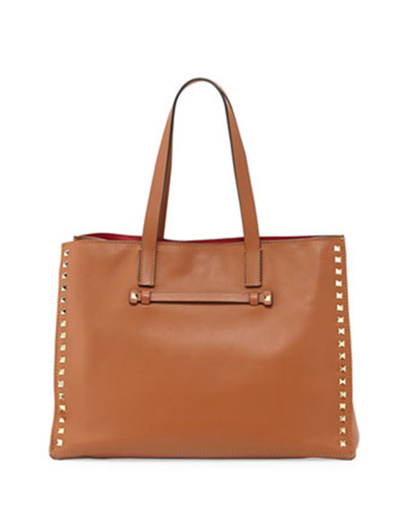Rockstud Soft Double-Strap Tote Bag, Light Cuir