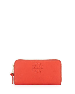 Tory Burch Thea Logo Embossed Continental Wallet, Jasper Red