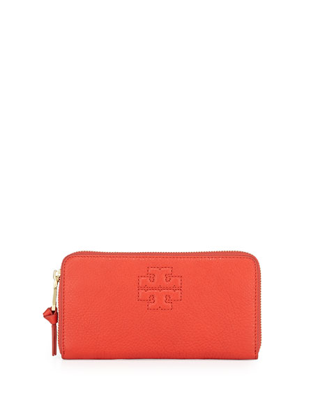 Thea Logo Embossed Continental Wallet, Jasper Red