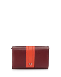 Tory Burch Robinson Stripe Wallet-on-a-Chain, Dark Plum