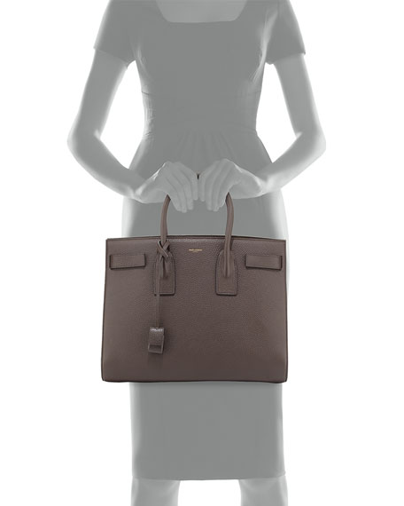 Sac de Jour Grained Leather Carryall Bag, Earth Gray