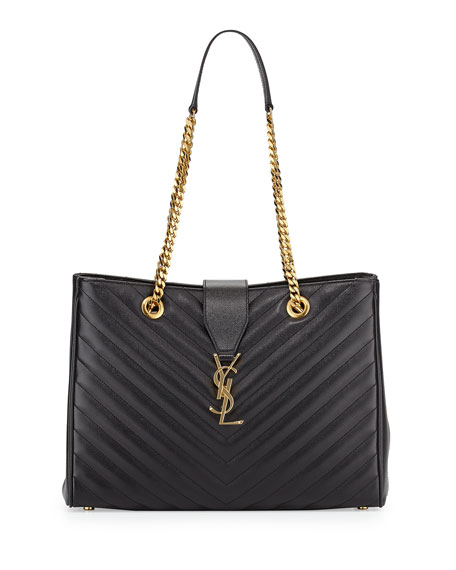 Saint LaurentChevron-Quilted Leather Shoulder Tote Bag, Black