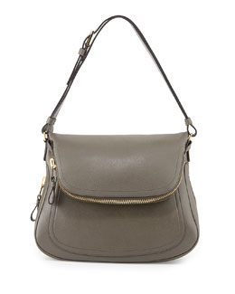 Tom Ford Jennifer Zipper Trimmed Medium Shoulder Bag, Graphite