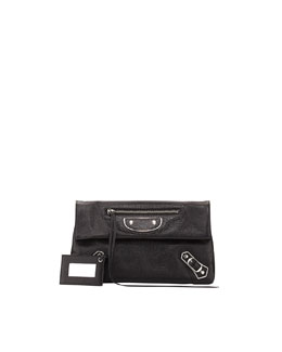 Balenciaga Metallic Edge Classic Envelope Clutch Bag, Black