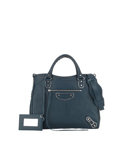 Balenciaga Metallic Edge Classic Velo Bag, Teal