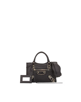 Balenciaga Metallic Edge Classic Mini City Crossbody Bag, Black