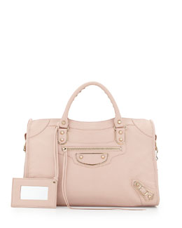 Balenciaga Metallic Edge Classic City Bag, Rose Aubepine