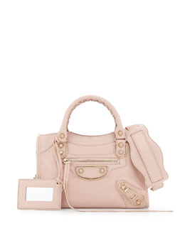 Balenciaga Metallic Edge Classic City Mini Crossbody Bag, Rose Aubepine