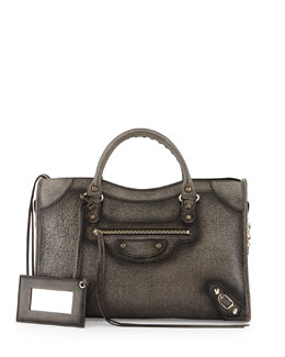 Balenciaga Distressed Classic City Nickel Bag, Distress Gray