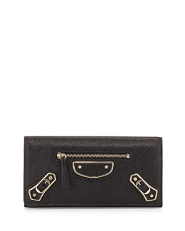 Balenciaga Metallic Edge Classic Money Wallet, Black