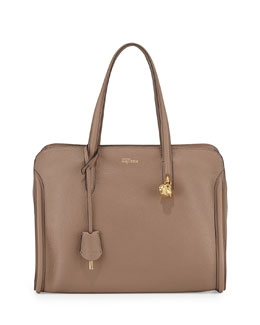 Alexander McQueen Skull Padlock Zip-Around Tote Bag, Taupe