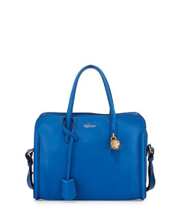 Alexander McQueen Padlock Small Zip-Around Tote Bag, Bright Blue