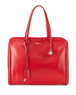 Alexander McQueen Skull Padlock Zip-Around Tote Bag, Red