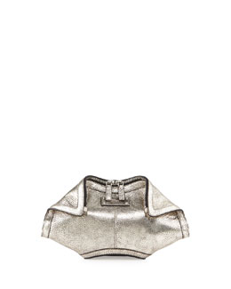 Alexander McQueen De-Manta Metallic Small Clutch Bag, Silver