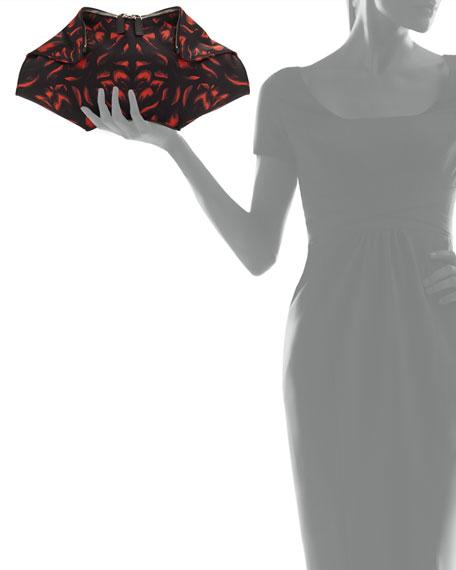 De-Manta Tulip Clutch Bag, Black/Red