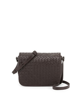 Bottega Veneta Curved Small Full-Flap Crossbody Bag, Ebano Dark Brown