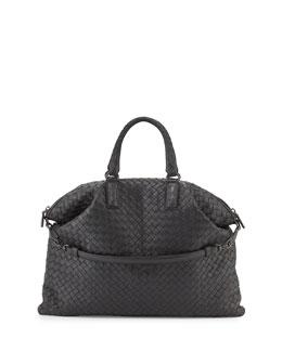 Bottega Veneta Medium Convertible Woven Tote Bag, Ardoise Dark Gray