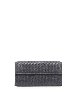 Bottega Veneta Woven Deerskin Continental Flap Organizer Wallet, New Lt. Gray