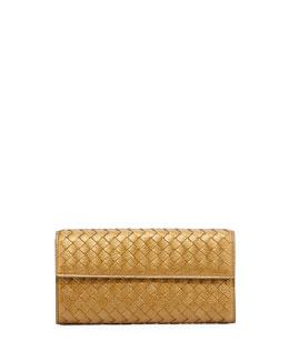Bottega Veneta Continental Organizer Flap Wallet, New Bronze Gold