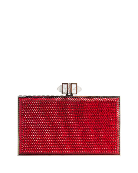 Crystal Coffered Rectangle Clutch Bag, Red